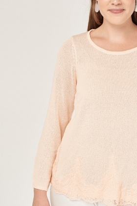 Embroidered Lace Hem Knit Top