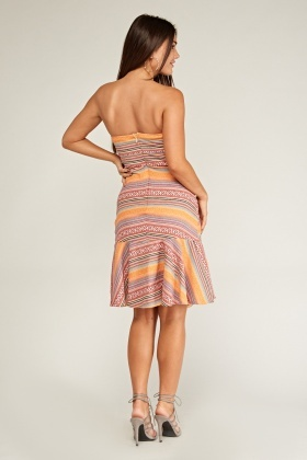 Ethnic Abstract Weaved Bandeau Dress