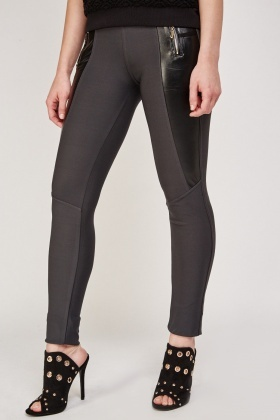 Faux Leather Side Contrast Leggings