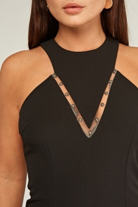 Grecian Neckline With Mesh Trim Dress