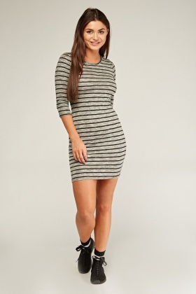Speckled Striped Bodycon Dress