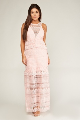 Laser Cut Crochet Overlay Maxi Dress