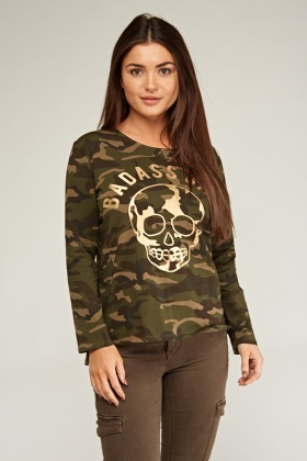 Metallic Skull Camo Print Top