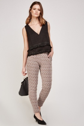 Printed Brown Straight Fit Trousers