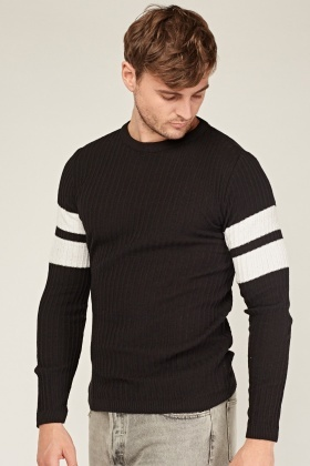 Ribbed Striped Sleeve Knitted Top