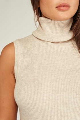 Sleeveless Roll Neck Knit Top