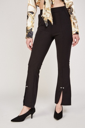 Slit Front Faux Pearl Detail Trousers
