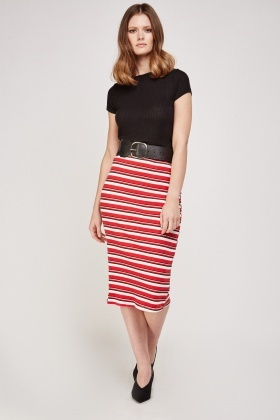 Striped Ribbed Midi Skirt