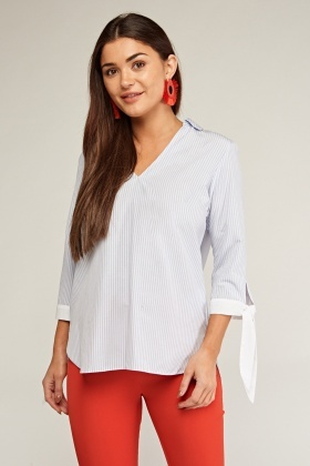 Tie Up Striped Collar Blouse