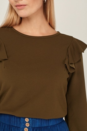 Frilly Shoulder Detail Casual Top