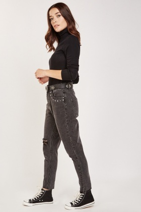 Studded Front Distressed Jeans