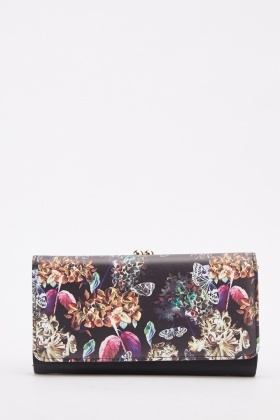 Botanical Floral Printed Purse