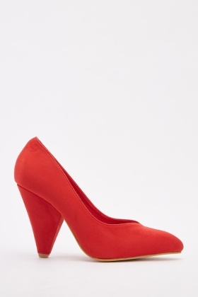 Cone Heel Suedette Shoes