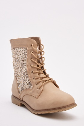 Embellished Crochet Side Detail Boot