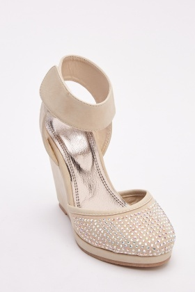 Encrusted Front Wedge Heels