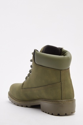 Green Lace Up Ankle Boots