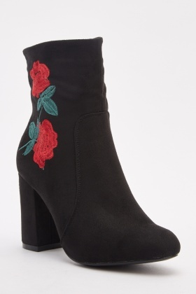 Rose Embroidered Suedette Ankle Boots
