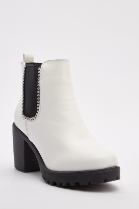 White Block Heel Boots