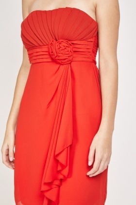 Bandeau Ruched Sheer Dress