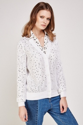 Button Front Crochet Knit Cardigan