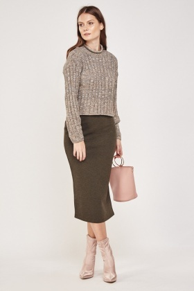 Khaki Side Slit Midi Skirt