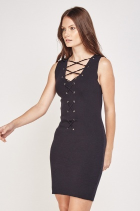 Lace Up Detail Knit Dress