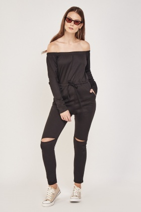 Off Shoulder Ripped Knee Jumpsuit