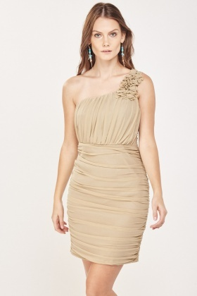 Ruched One Shoulder Bodycon Dress
