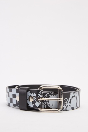 Skull Mixed Print Belt