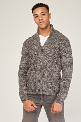 Speckled Chunky Cable Knit Cardigan