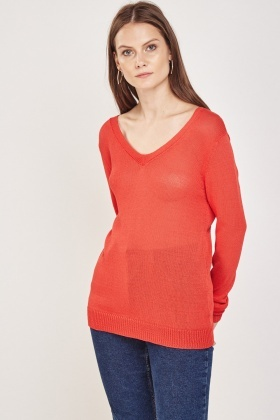 Lace Insert Back Knitted Pullover