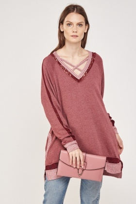 Lace Insert Trim Knitted Sweater