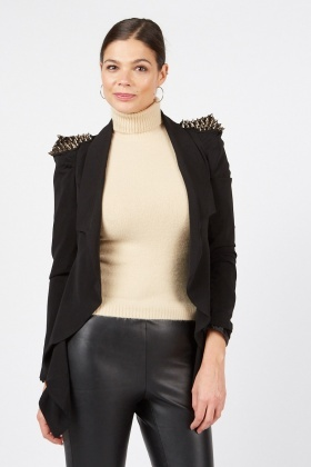 Spiked Shoulder Lapel Front Jacket