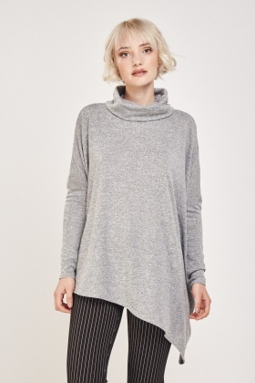 Turtle Neck Asymmetric Hem Top