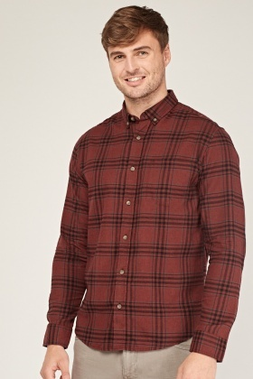 Wine Checked Mens Shirt