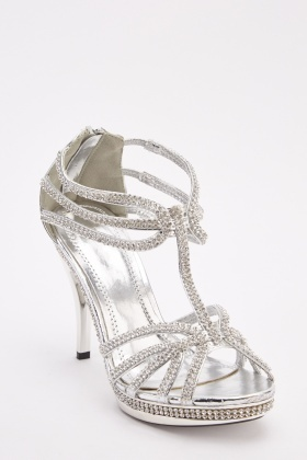 Encrusted T-Strap Heeled Sandals
