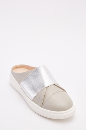 Metallic Trim Open Back Plimsolls