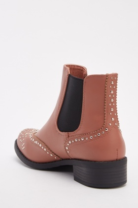 Studded Elastic Insert Ankle Boots