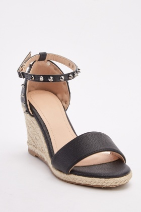 Studded Espadrille Wedge Sandals