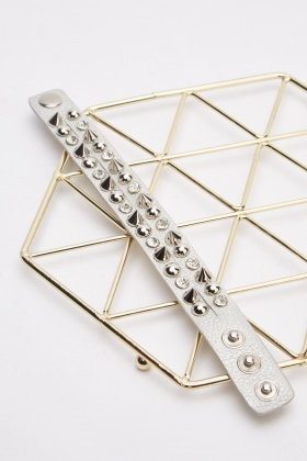 Studded Spike Silver Wrist Band