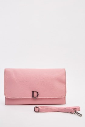 Textured Flap Clutch Bag