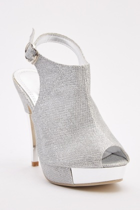 Textured Metallic Ankle Strap Sandals