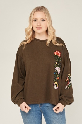 Applique Flower Casual Sweatshirt