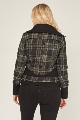 Belted Plaid Cropped Jacket