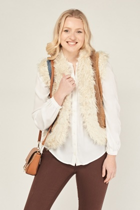 Contrast Teddy Bear Fur Gilet