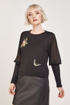 Embroidered Applique Knit Top