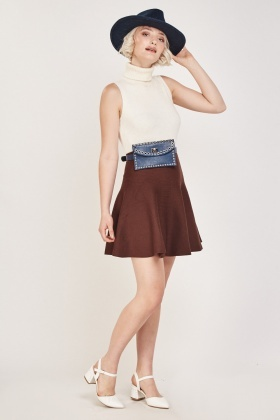 Flared Ribbed Mini Skirt