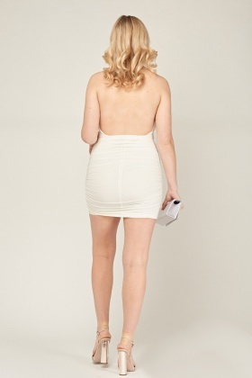 Halter Neck Ruched Bodycon Dress