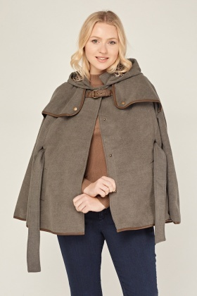 Hooded Cape With Belt