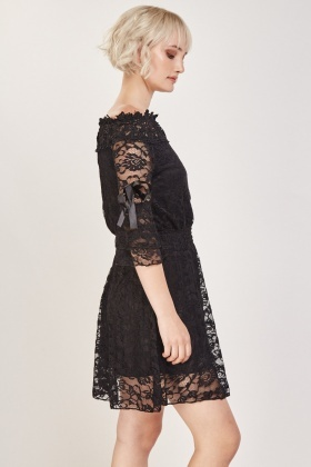 Lace Overlay Bardot Dress